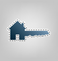 Home key sign blue icon with outline for vector
