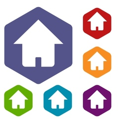 Home rhombus icons vector image