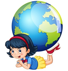Little girl and the world vector