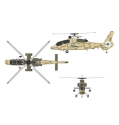 Military helicopter in flat style vector