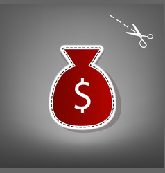 Money bag sign red icon with vector