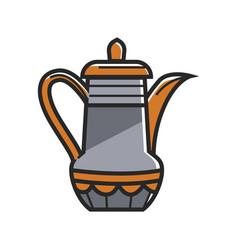 Orange and gray tea pot vector
