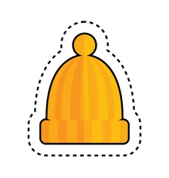 Orange hat with pom pom vector