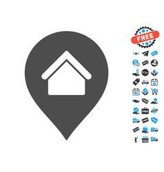 Residence marker icon with free bonus vector