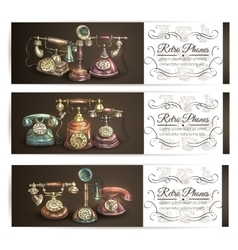 Retro phone sketch banner set with vignette vector image