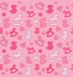 Seamless pattern with toys - horses rabbits vector