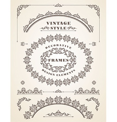 Set of retro vintage frames and borders vector