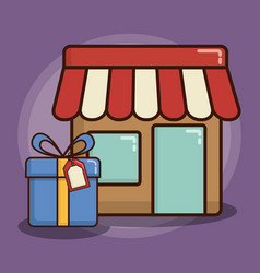 Store and gift box icon vector