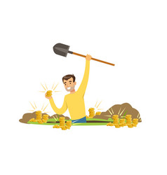 Treasure hunter found gold coins in the ground vector
