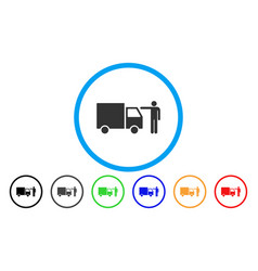 Truck customer rounded icon vector