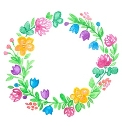 Watercolor hand drawn floral frame vector