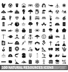 100 natural resources icons set simple style vector