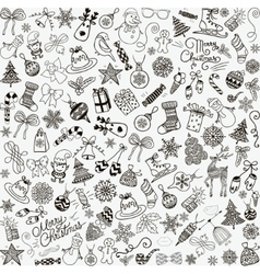 Hand drawn christmas doodles seamless vector
