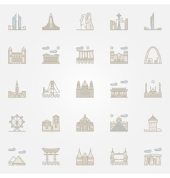 World landmarks colorful icons vector