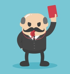 Concept bald businessman hand showing red card vector