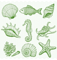 Sea collection Original hand drawn vector image