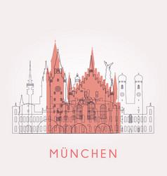 Outline munich vintage skyline vector