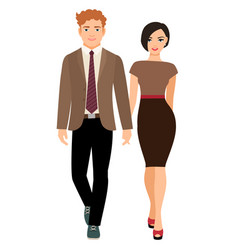 elegant style couple in business clothes vector image