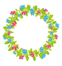 Spring floral wreath with red and blue blooms vector