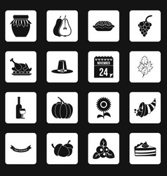 thanksgiving icons set squares vector image