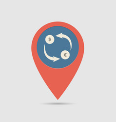 Map pin exchange money vector