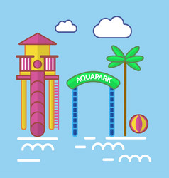 Aqua park with slide attraction and palm tree vector
