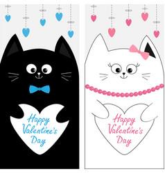 Cat family couple holding white heart shape paper vector