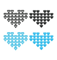 Diamond heart luxury icons set vector