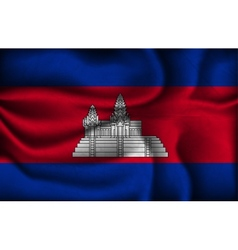 Crumpled flag of cambodia on a light background vector