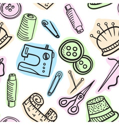 Sewing seamless pattern - hand drawn vector