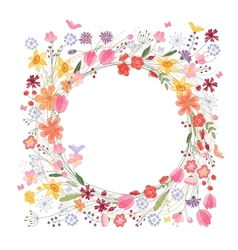 Vintage round frame with contour field flowers on vector