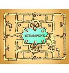 Steampunk golden frame vector