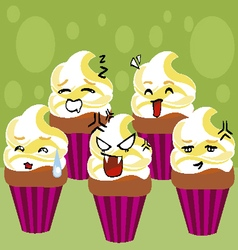 Kawaii cupcakes vector
