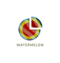 Watermelon into flat style with a triangular piece vector