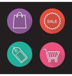 Shopping flat linear icons set vector