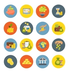 Investment flat icon set vector