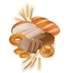 Bread and bakery products vector