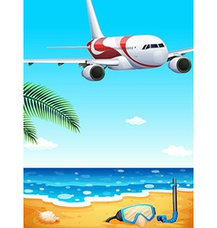 A beach with an airplane uphigh vector image
