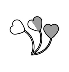 balloons heart romance love vector image