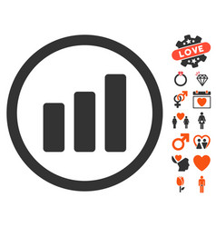 Bar chart increase icon with dating bonus vector