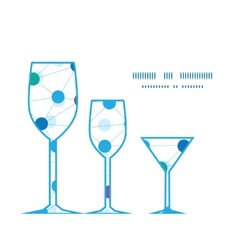 Connected dots three wine glasses silhouettes vector