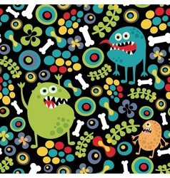 Cute monsters seamless texture vector image vector image