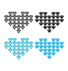 Diamond heart luxury icons set vector