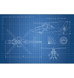 Engineering drawing of helicopter vector image vector image