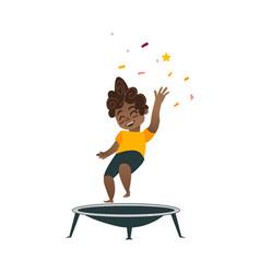 Flat black boy kid jumping on trampoline vector
