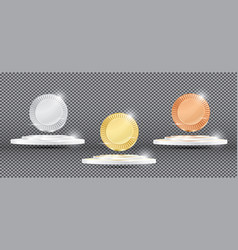 Gold silver and bronze medals on transparent vector