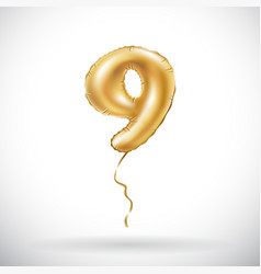 golden number 9 nine metallic balloon party vector image vector image