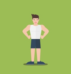 Gym fitness muscular cartoon man standing flat vector