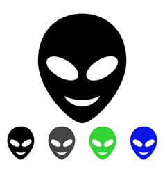 Happy alien head flat icon vector