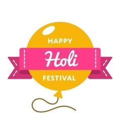 Happy holi festival day emblem vector